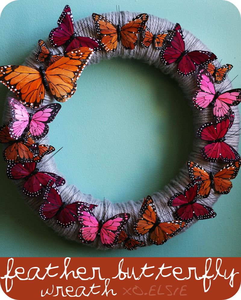 Feather butterfly wreath DIY