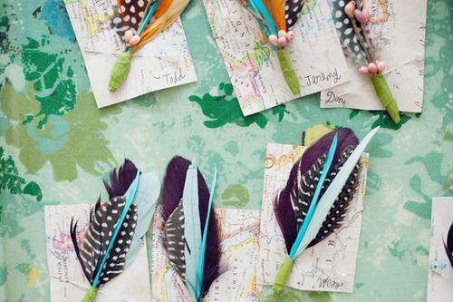gift bride: feather boutonnieres