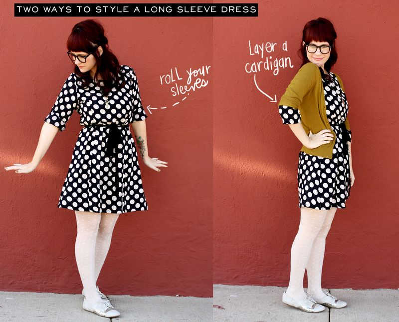 Two ways to wear a long sleeve dress