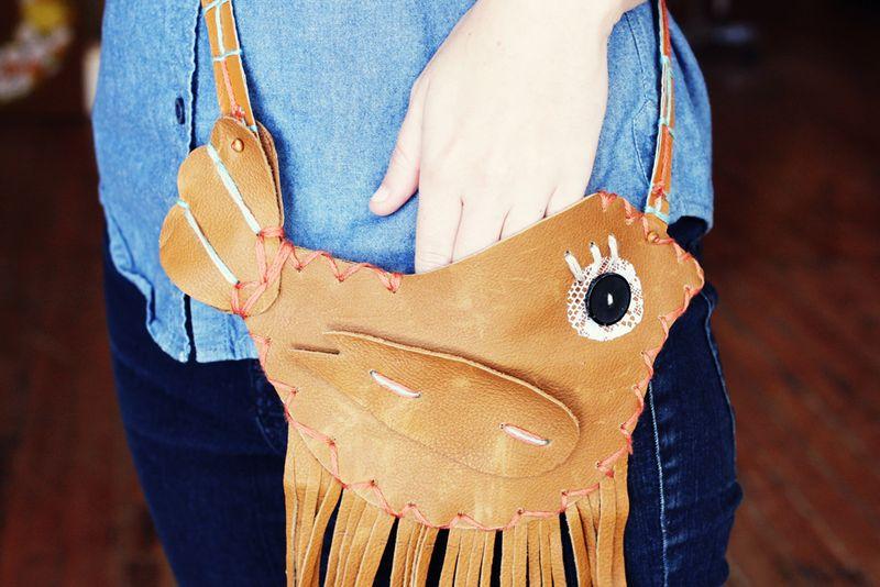 Fringe bird purse