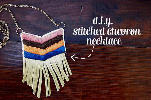 Stitched chevron necklace