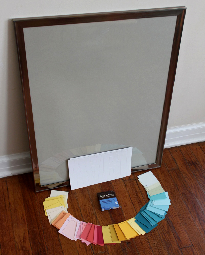 Supplies Needed Large frame with paper insert a ton of pretty paint chips double-sided tape squares and vinyl letters appropriate to the size of your ... & Modern Wall Art with Paint Swatches! - A Beautiful Mess