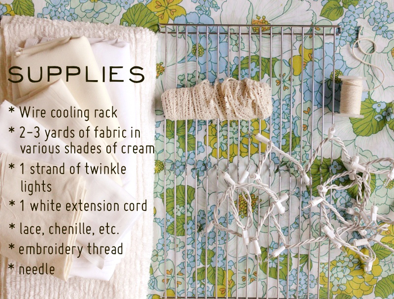 Diy fabric chandelier craft hackers the cooling rack you might be able to find at a garage sale but you can find them at any kitchen store your fabric any fabric store but rather than aloadofball Images