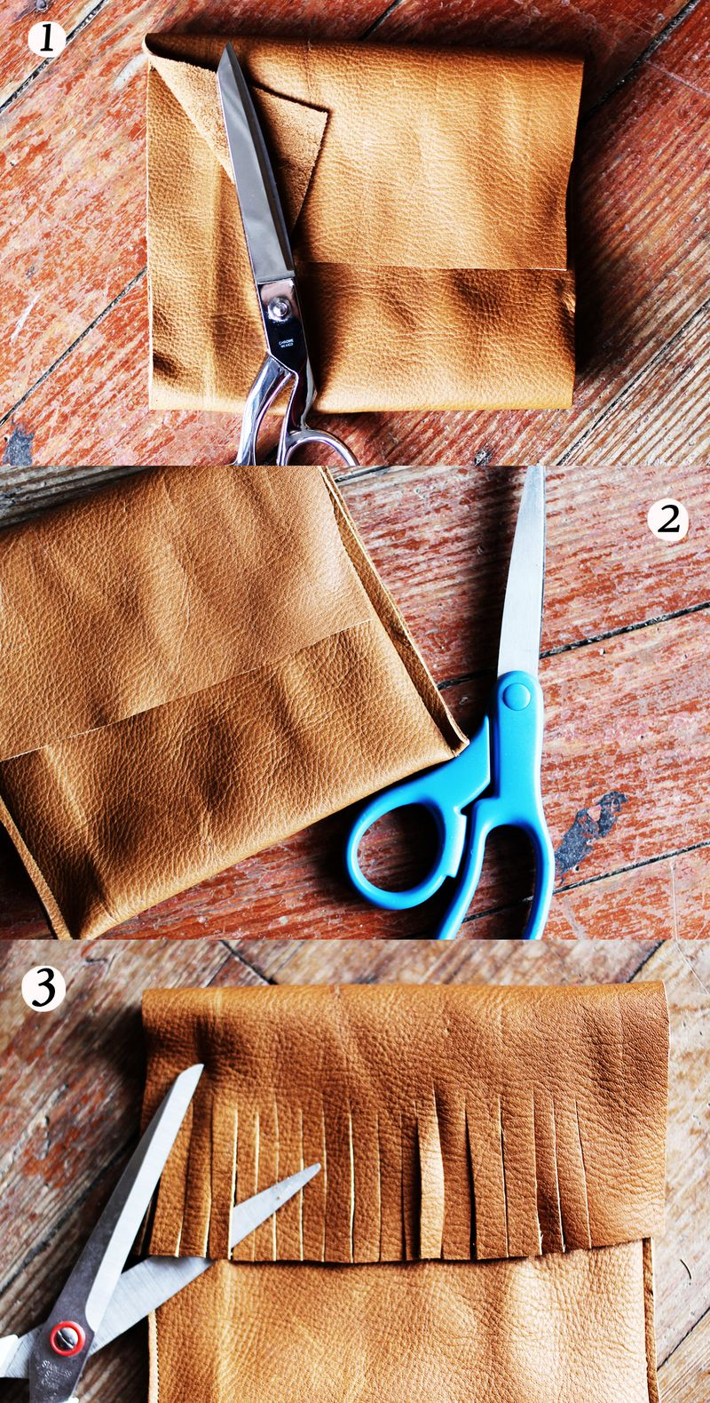 Leather pocket purse steps