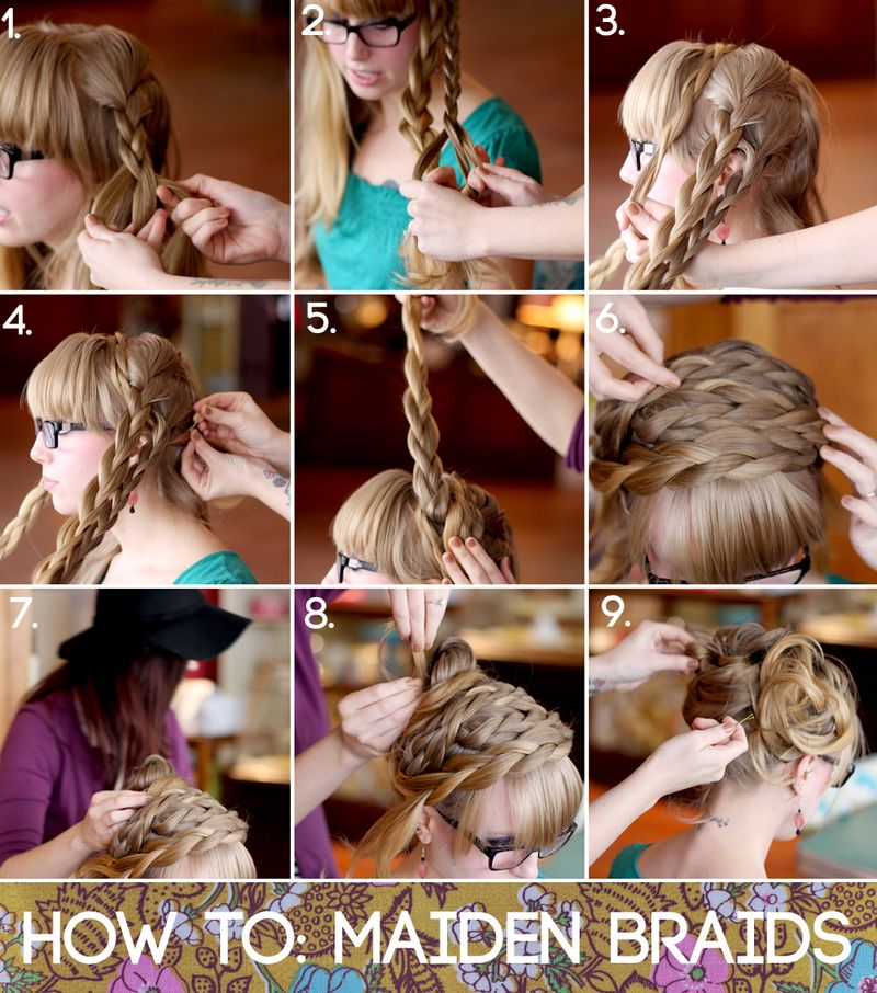 Steps 1-2: Braid two strands on each side of a center part.