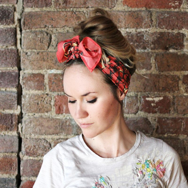 style your hair into a messy bun or top knot fold your scarf into a  Best Scarves For Hair