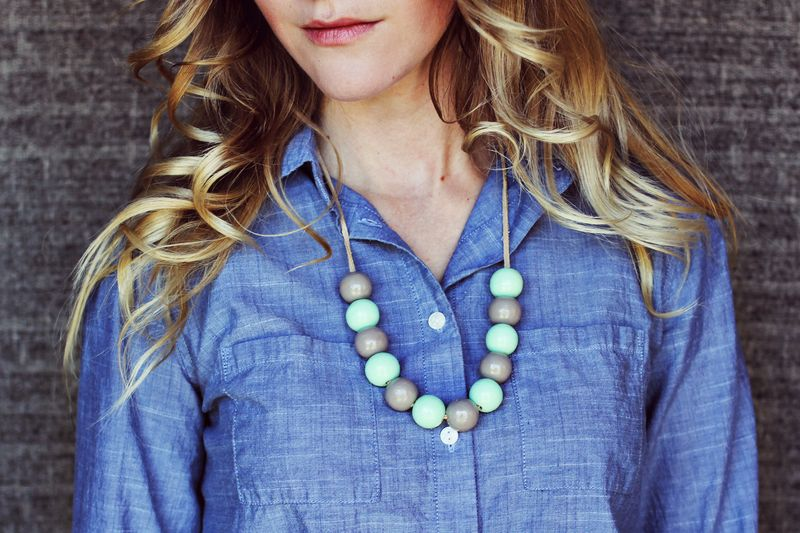 Mint and Grey Bauble Necklace
