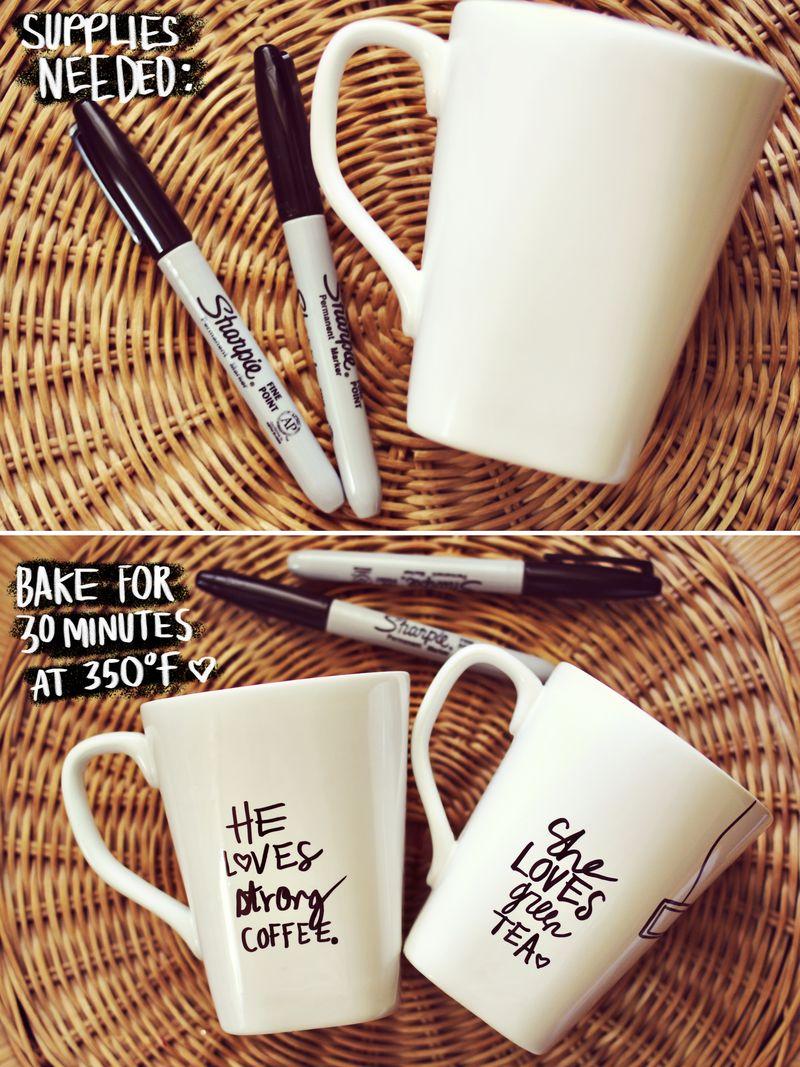 His Her Sharpie Mug Diy A Beautiful Mess