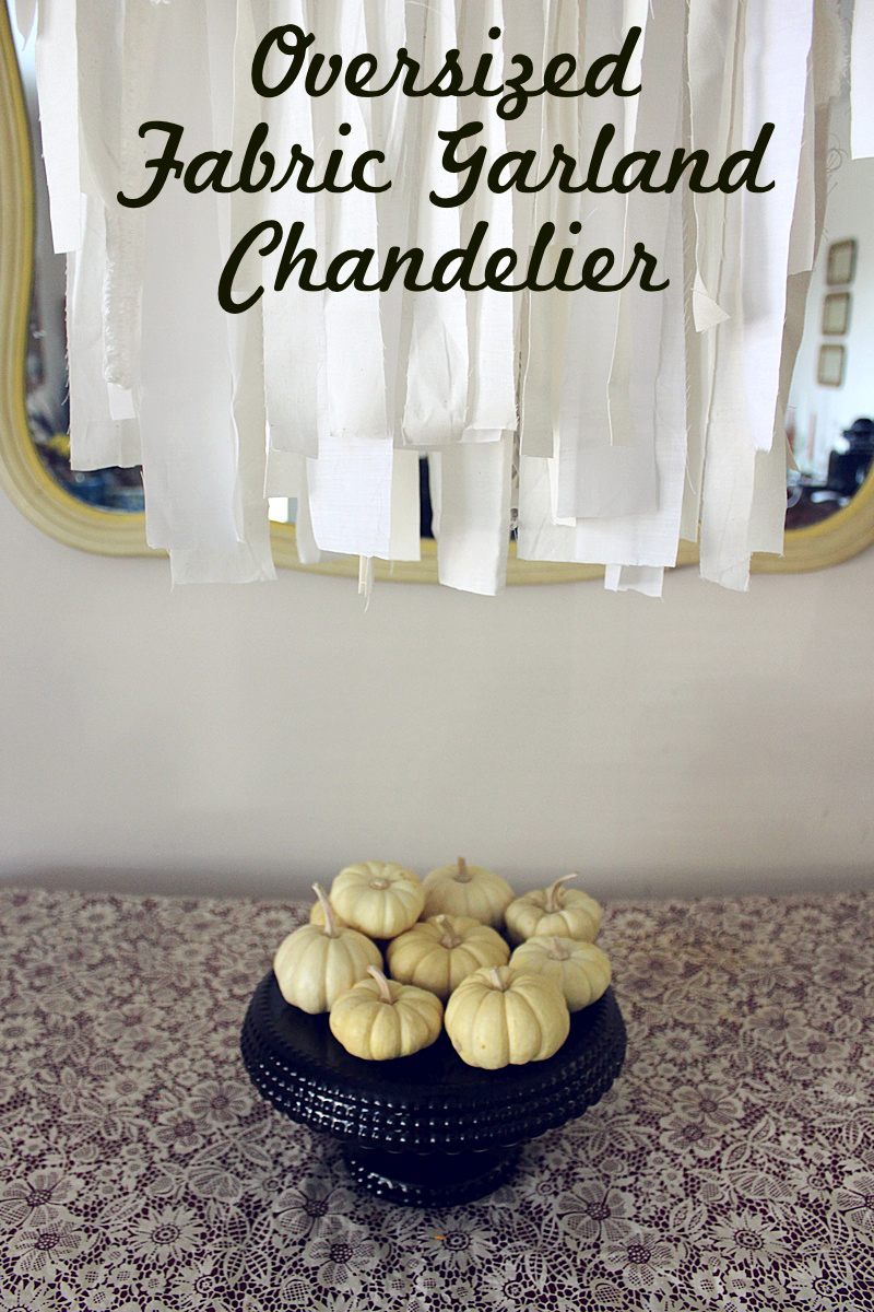 Diy oversized fabric garland chandelier a beautiful mess make a statement piece in your home out of supplies you already have on hand i designed my oversized fabric garland chandelier to fit over our table but aloadofball Gallery