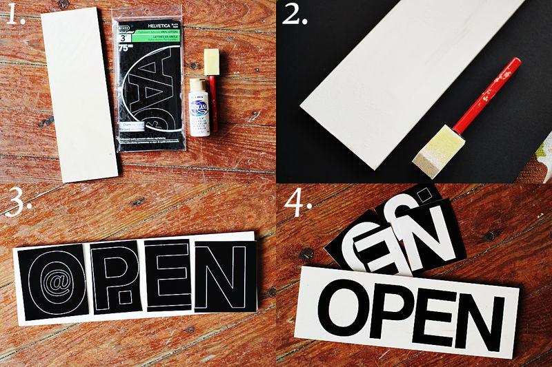 Open sign steps