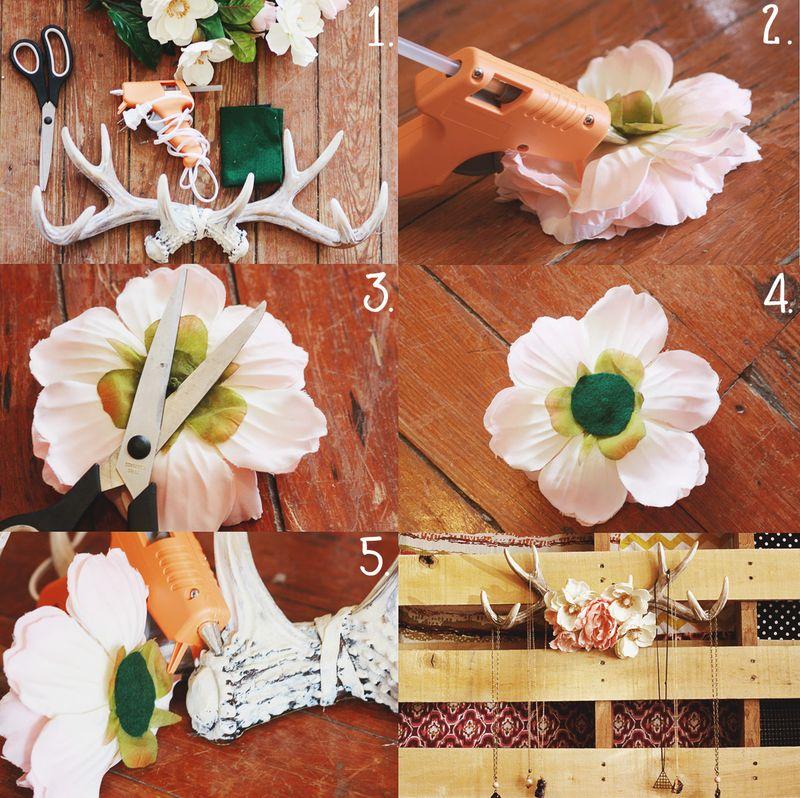 Floral antlers steps