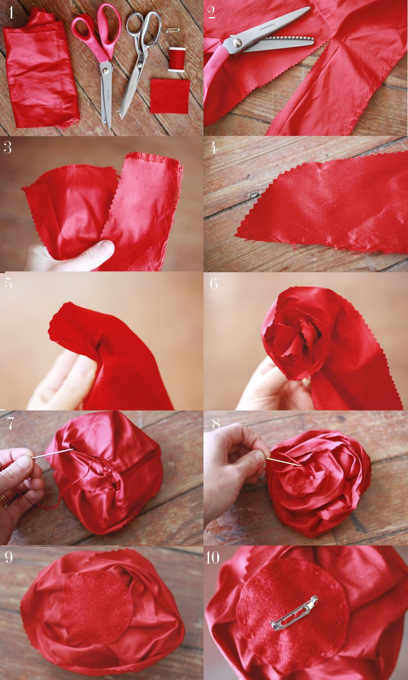 Silk flower broach DIY