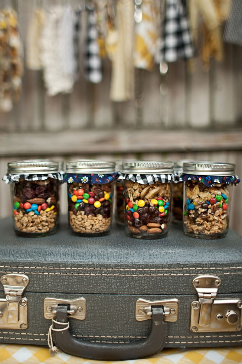 Layer Your Trail Mix Into Mason Jars We Used Granola Mini MMs Dried Fruit And Nuts Cut Out Circles Of Fabric For The Tops