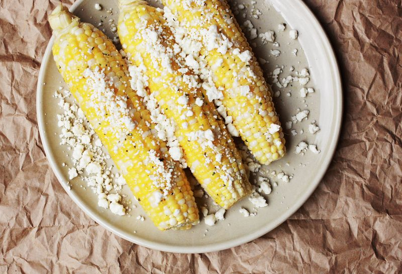 Feta corn on the cob