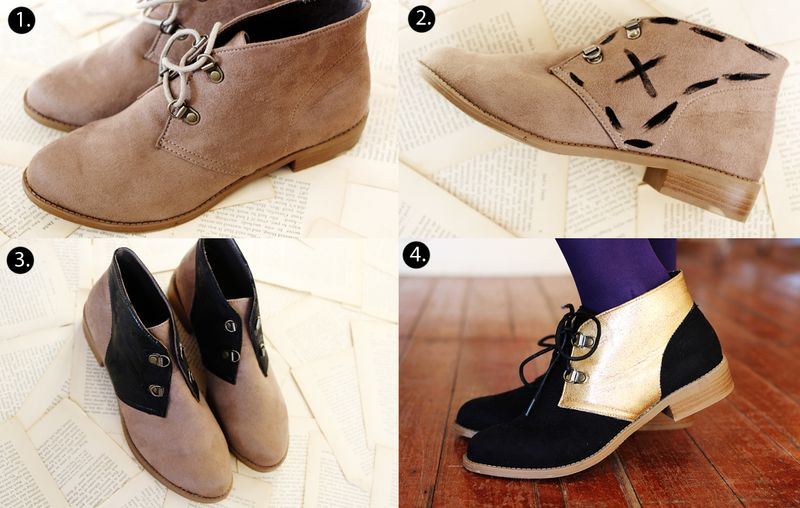 Color block shoes steps
