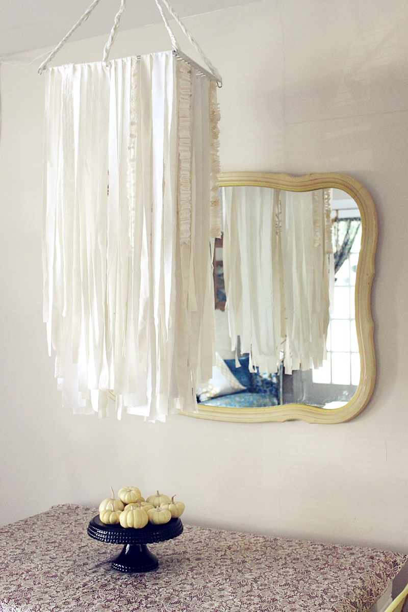d i y oversized fabric garland chandelier a beautiful mess. Black Bedroom Furniture Sets. Home Design Ideas