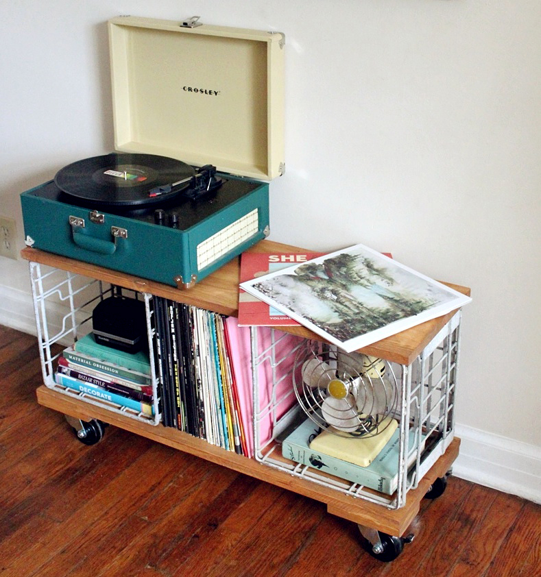 D i y industrial record cabinet a beautiful mess for Diy vinyl storage