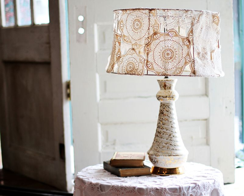 Doily covered lamp shade project a beautiful mess doily lamp 1 aloadofball Image collections