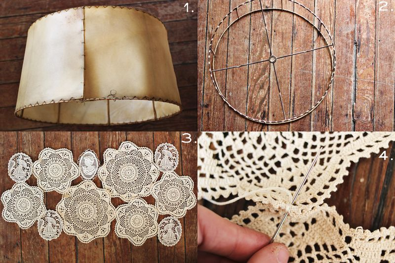 Doily covered lamp shade project a beautiful mess doily lamp mozeypictures Image collections