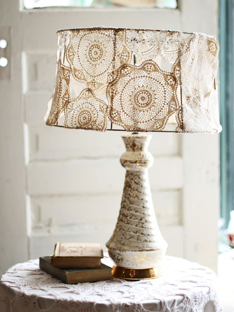 Doily Covered Lamp Shade Project - A Beautiful Mess for Diy Lampshade Designs  143gtk