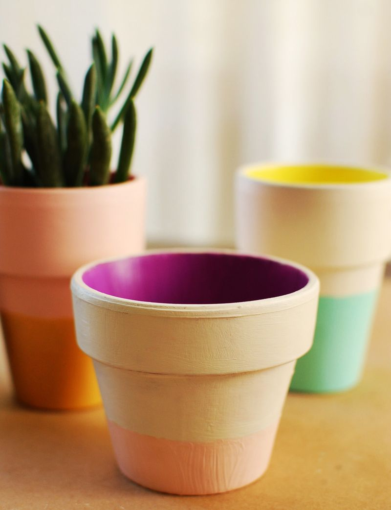 color block terra cotta pots diy – a beautiful mess
