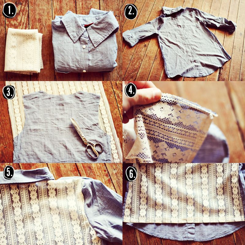 Denim lace button up DIY