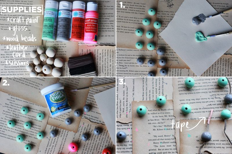 Wood bead necklace steps