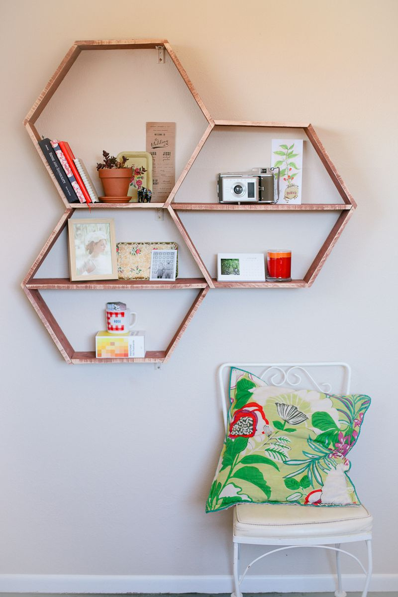 view bookshelf all build honeycomb saturday hexagon lead morning shelves woodworking how to family workshop