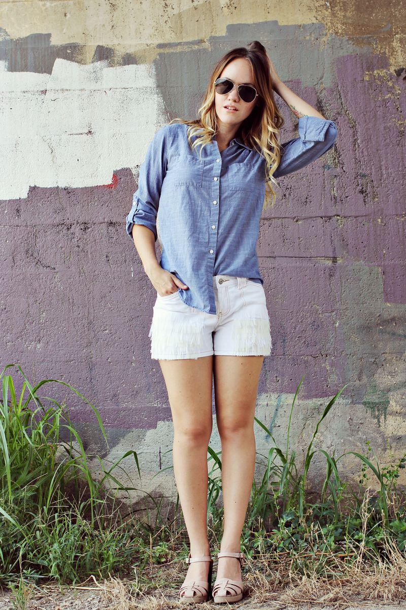 Cream fringe shorts