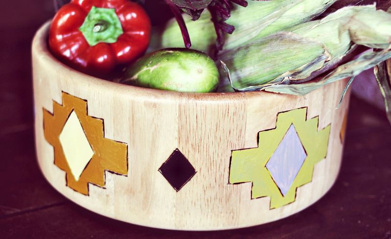 DIY Navajo Print Salad Bowl