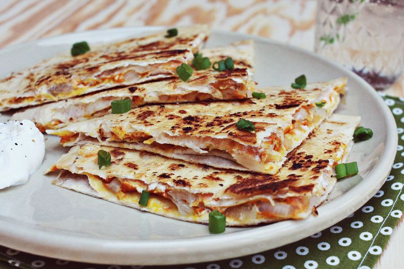 Pumpkin and sweet onion quesadilla
