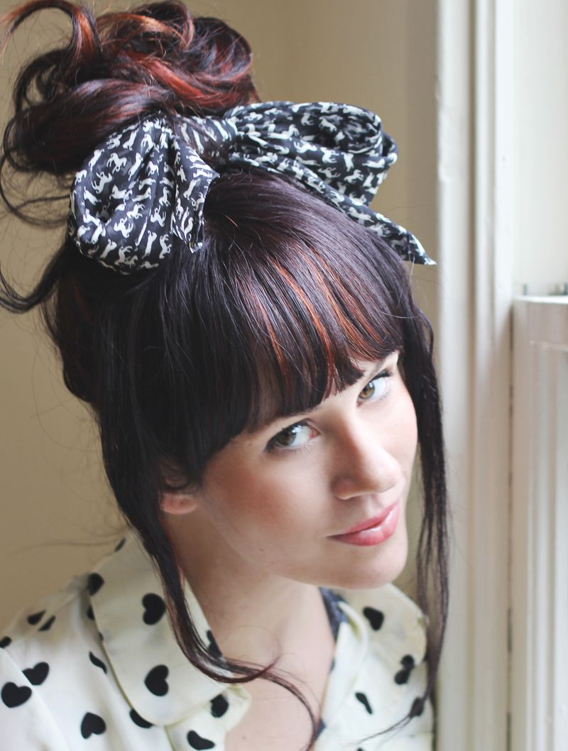 Scarf Styling: Messy Bun with Bow