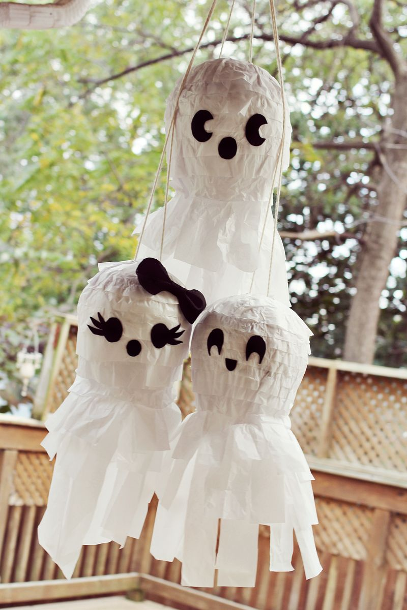 Ghost family pi ata party a beautiful mess for Ghost decoration ideas