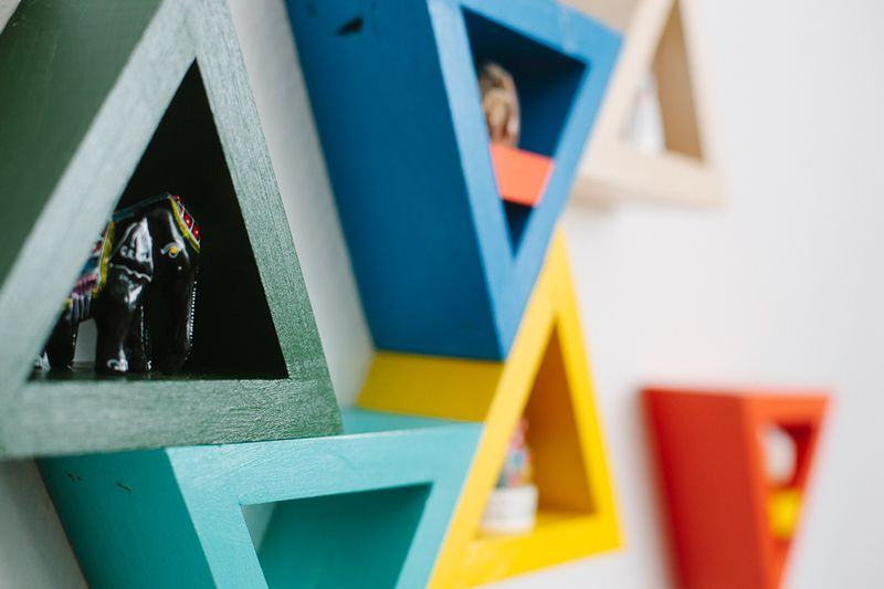 Colorful Triangle Shelves | A Beautiful Mess