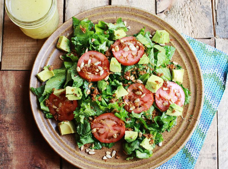 Fried lemon zest salad