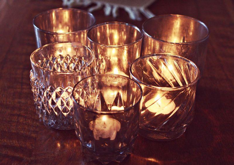 Finest Aged Mercury Glass Candle Holders - A Beautiful Mess SA14