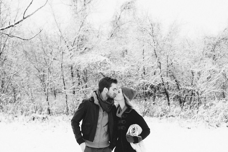 Winter snow engagement photos