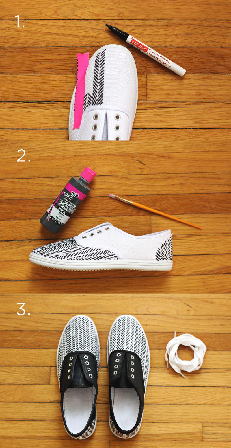 Diy Herringbone Sneakers Supplies Plain Canvas Shoes Fabric Marker