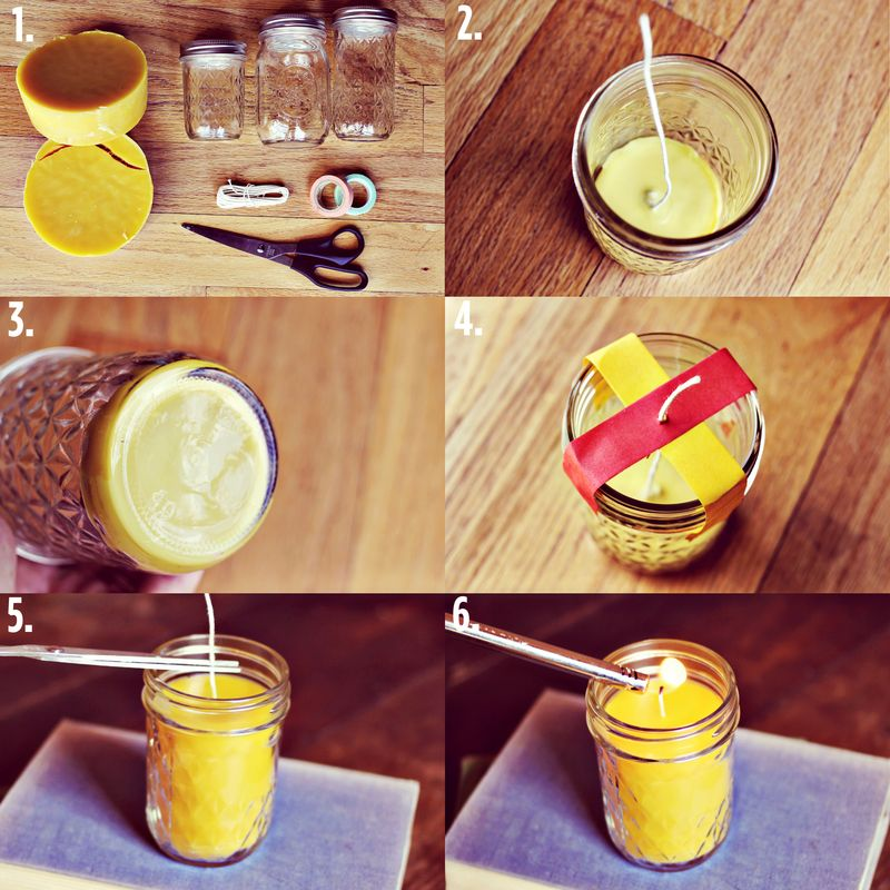 Homemade candle Beeswax