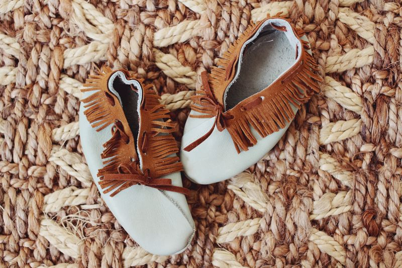 Blue baby moccasins