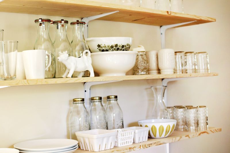 Unfinished Shelves + White Dishes