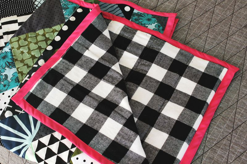 Hand Printed Quilt with Flannel Lining