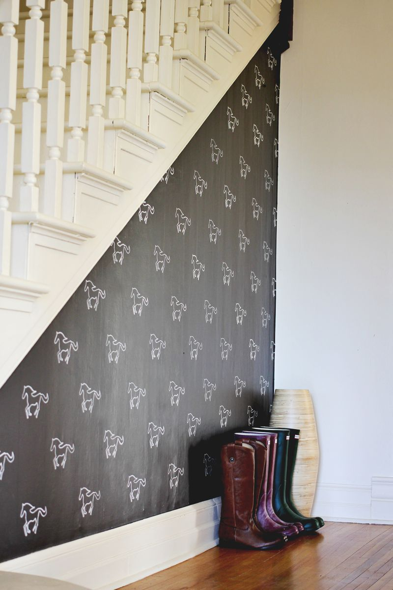 Bedroom Stencil Ideas. Horse wall made with stencils  DIY Custom Stenciled Wall A Beautiful Mess