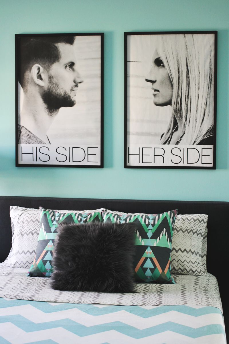 Inspiration- blueprint copies above a bed (via A Beautiful Mess)