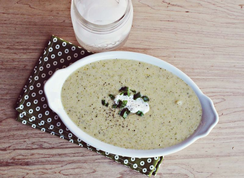 Baked potato and broccoli soup