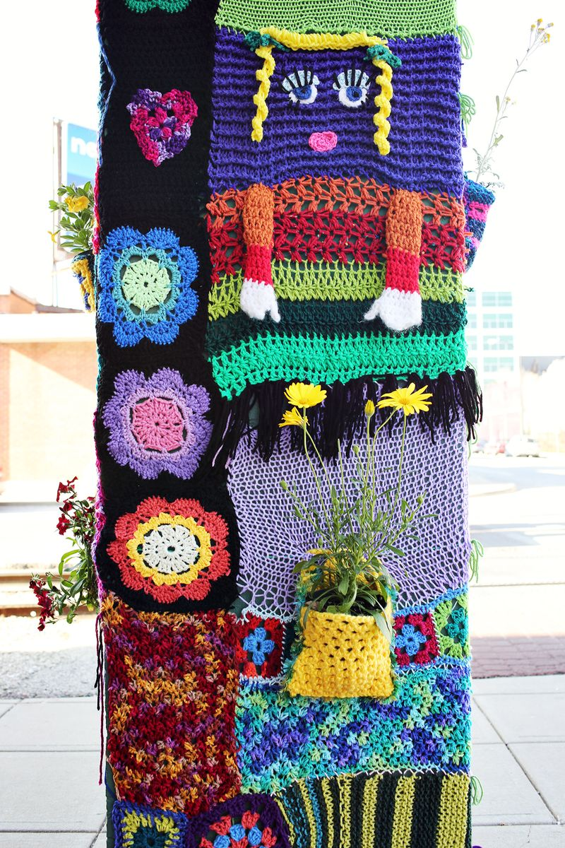 Cute yarn bombing!