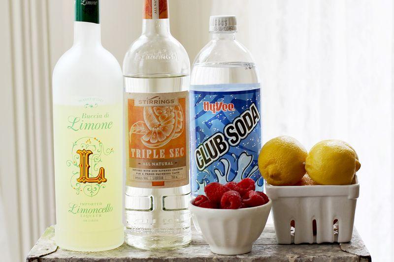 Smashed Raspberry Lemonade Cocktail (Ingredients)