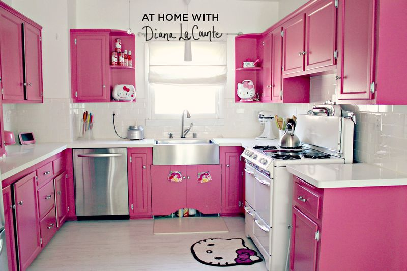 All Pink Kitchen Pleasing At Home With Diana La Counte A Beautiful Mess  Decorating Inspiration