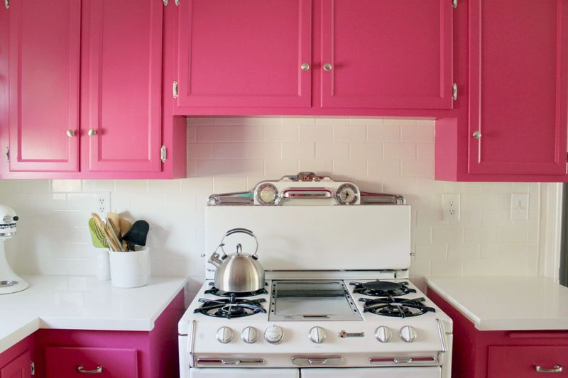 Diana La Counte's pink kitchen via A Beautiful Mess