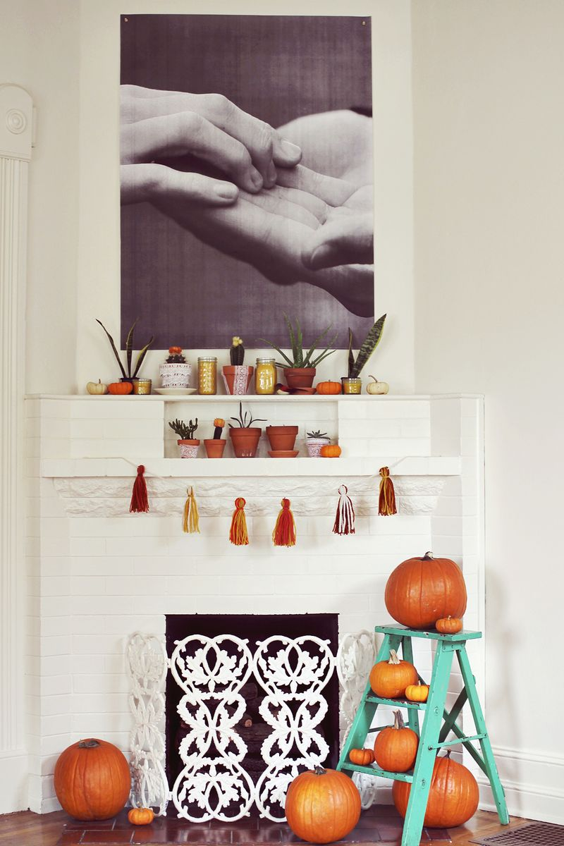 Autumn Fireplace Display by A Beautiful Mess